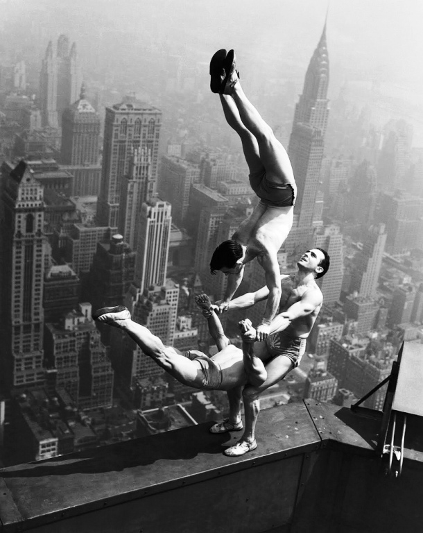 Acrobats on ledge