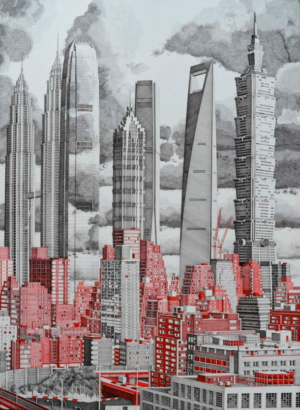 City in Red and Gray