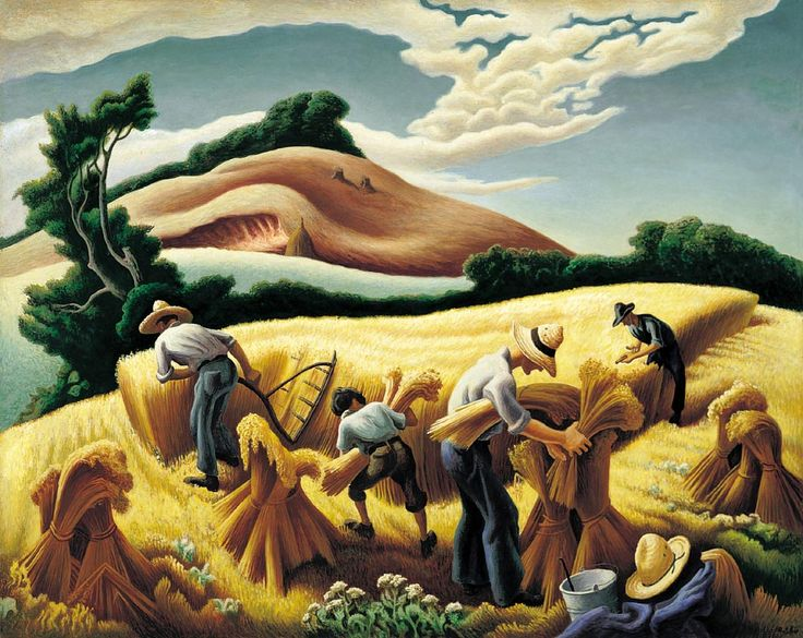 Cradling wheat a painting by thomas hart benton literary fictions - The hideout in the woods an artists dream ...