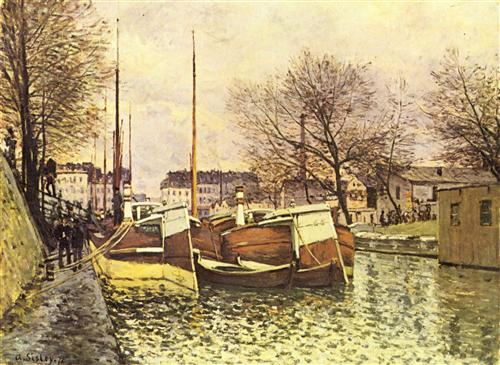 Sisley ~ Barges on the Canal Saint Martin in Paris (1870)