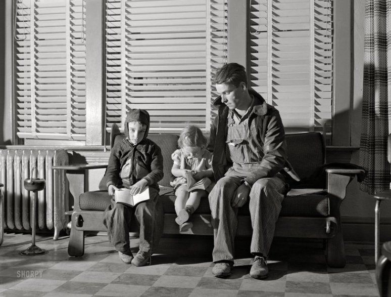 1942 ~ Father Waits With Two Small Children to See Doctor